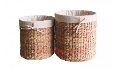 Set of 2 Round Water hyacinth Baskets