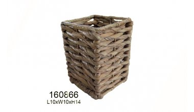 Square Water hyacinth Basket ( Brown )