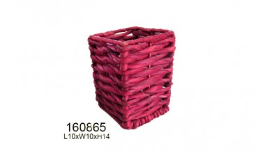 Square Water hyacinth Basket ( Red )